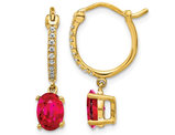 14K Yellow Gold 1.50 Carat (ctw) Natural Ruby Dangle Earrings with Diamonds
