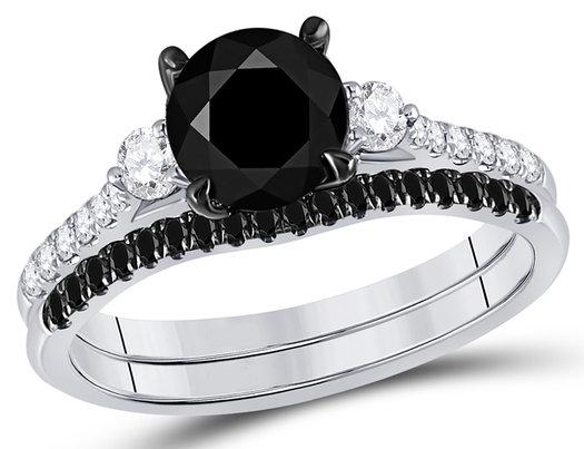 2.00 Carat (ctw I1-I2, H-I) Black Diamond Engagement Ring and Wedding Band Set in 14K White Gold
