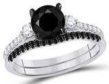2.00 Carat (ctw I1-I2, H-I) Black Diamond Engagement Ring and Wedding Band Set in 14K White Gold