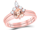 7/8 Carat (ctw) Natural Morganite Ring in 10K Rose Pink Gold with Diamonds