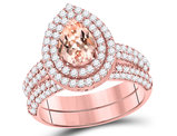 2/3 Carat (ctw) Natural Morganite Drop Engagement Ring and Wedding Band Set in 14K Rose Pink Gold with Diamonds