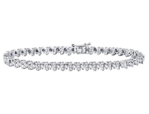 Sterling Silver Diamond LInk Heart Bracelet 1/3 Carat (ctw J-K , I3)