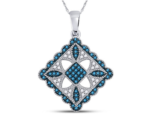 1/4 Carat (ctw I2-I3) Blue  and White Diamond Pendant Necklace in 10K White Gold with Chain