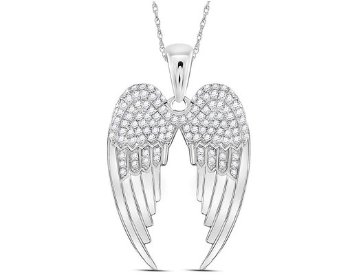 2/5 Carat (ctw I-J, I2-I3) Diamond Angel Wings Pendant Necklace in Sterling Silver with Chain