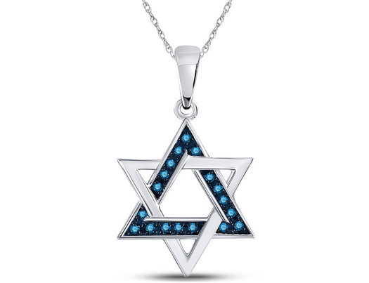 1/10 Carat (ctw I2-I3) Blue Diamond Star of David Charm Pendant Necklace in 10K White Gold with Chain