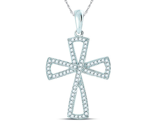 1/3 Carat (ctw I-J, I2-I3) Diamond Flared Cross Pendant Necklace in 10K White Gold with Chain