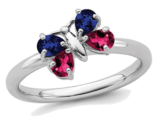 4/5 Carat (ctw) Lab Created Ruby and Lab Created Sapphire Butterfly Ring in Sterling Silver