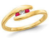 1/12 Carat (ctw) Natural Ruby Promise Ring Band in 14K Yellow Gold