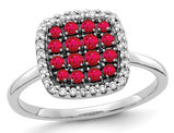 2/5 Carat (ctw) Natural Ruby Cluster Ring in 14K White Gold