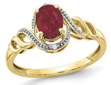 1.05 Carat (ctw) Natural Ruby Ring in 10K Yellow Gold