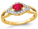 2/5 Carat (ctw) Natural Oval Ruby Ring in 14K Yellow Gold with 1/10 Carat (ctw) Diamonds