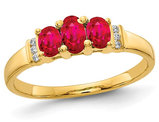 3/4 Carat (ctw) Natural Ruby Three Stone Ring in 14K Yellow Gold