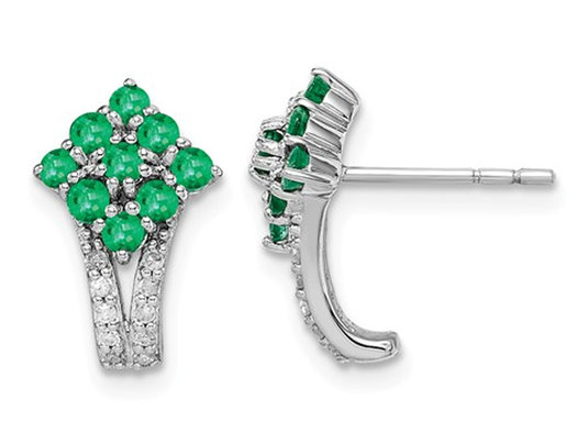 1/2 carat (ctw) Natural Emerald Cluster Earrings in Sterling Silver
