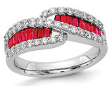 1.20 Carat (ctw) Natural Ruby Band Ring in 14K White Gold with 3/5 Carat (ctw) Diamonds