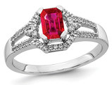 1/2 Carat (ctw) Natural Emerald Cut Ruby Ring in 14K White Gold with 1/6 Carat (ctw) Diamonds