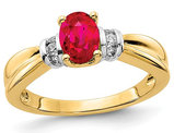 1.00 Carat (ctw) Natural Ruby Ring in 14K Yellow Gold with 1/10 Carat (ctw) Diamonds