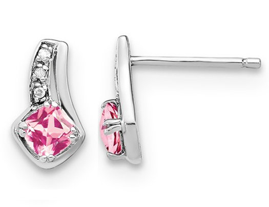 4/5 Carat (ctw) lab Created Pink Sapphire Earrings in Sterling Silver