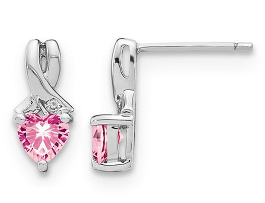 1.25 Carat (ctw) Lab Created Pink Sapphire Heart Earrings in Sterling Silver