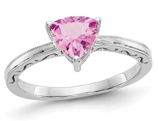 1.00 Carat (ctw) Trillion Cut Lab Created Pink Sapphire Ring in 10K White Gold