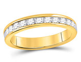 Channel Set Diamond Wedding Band 1/2 Carat (ctw H-I, I1-I2) in 14K Yellow Gold