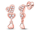 1/6 Carat (ctw I-J, I2-I3) Diamond Triple Heart Dangle Earrings in 14K Rose Pink Gold