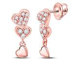 1/6 Carat (ctw I-J, I2-I3) Diamond Triple Heart Dangle Earrings in 14K Rose Pink Gold
