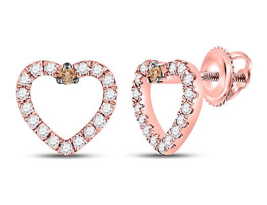 1/6 Carat (ctw I-J, I2-I3) Diamond Heart Post Earrings in 10K Rose Pink Gold