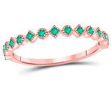 1/6 Carat (ctw) Natural Emerald Stackable Band Ring in 10K Rose Pink Gold
