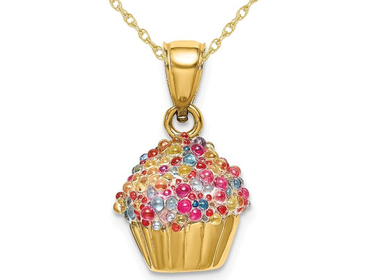14K Yellow Gold Cupcake Charm Pendant Necklace with Colored Bead Icing and Chain