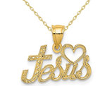 14K Yellow Gold Love Jesus Pendant Necklace Charm with Chain