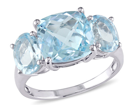 8.35 Carat (ctw) Blue Topaz Three Stone Ring in Sterling Silver