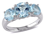 4.35 Carat (ctw) Blue Topaz Three Stone Ring in Sterling Silver