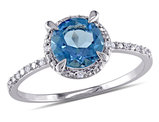 1.60 Carat (ctw) London Blue Topaz Solitaire Ring in 10K White Gold