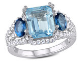 5.65 Carat (ctw) Blue Topaz Three Stone Ring in Sterling Silver