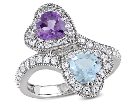 2.50 Carat (ctw) Blue Topaz and Amethyst Heart Promise Ring in Sterling Silver with Lab Created White Sapphires