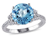 4.50 Carat (ctw) Swiss Blue Topaz Ring in 14K White Gold with Diamonds 1/6 Carat (ctw)