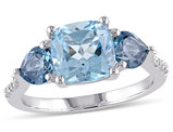 3.50 Carat (ctw) Blue Topaz Ring in Sterling Silver with Accent Diamonds