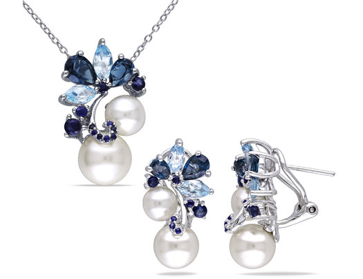 White Freshwater Cultured Pearl, Blue Topaz and Sapphire 5.00 Carat (ctw) Cluster Earrings and Pendant in Sterling Silver