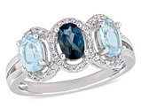 1.60 Carat (ctw) Blue Topaz Ring Three Stone Ring in Sterling Silver with Accent Diamonds