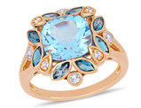 4.65 Carat (ctw) Blue and White Topaz Flower Ring in Rose Pink Plated Sterling Silver