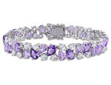 28.50 Carat (ctw) Amethyst, Rose De France, Lab Created White Sapphire Bracelet in Sterling Silver
