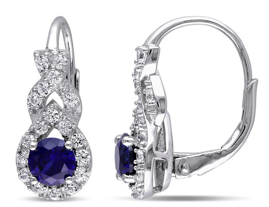 1.85 Carat (ctw) Lab Created Blue and White Sapphire Leverback Earrings in Sterling Silver