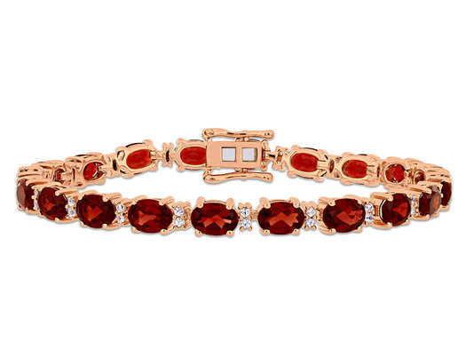 19.00 Carat (ctw) Red Garnet and White Sapphire .60 Carat (ctw) Bracelet in Rose Pink Plated Sterling Silver