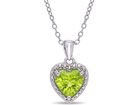 1.30 Carat (ctw) Green Peridot Heart Pendant Necklace in Sterling Silver with Chain