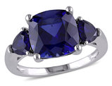 7.10 Carat (ctw) Lab-Created Blue Sapphire Three Stone Ring in Sterling Silver