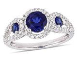 1.30 Carat (ctw) Lab Created Blue Sapphire Three Stone Ring in 10K White Gold with 1/3 Carat (ctw) Diamonds