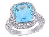 6.25 Carat (ctw) Cushion Cut Blue Topaz Ring with Lab Created White Topaz in Sterling Silver