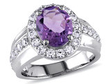2.20 Carat (ctw) Amethyst Ring with Lab Created White Sapphires in Sterling Silver