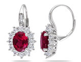 5.90 Carat (ctw) Lab Created Ruby Drop Earrings with Lab Created White Topaz in Sterling Silver