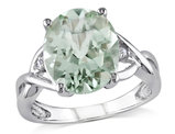 4.30 Carat (ctw) Oval Cut Green Amethyst Ring in Sterling Silver with Accent Diamonds